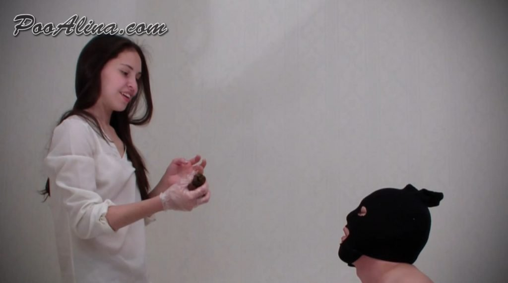 Young mistress shitting in mouth of a toilet slave and throwing turd in mouth - PooAlina 4