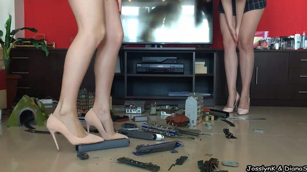 DianaSpark and Josslyn Kane - Mean Schoolgirls Utterly Destroy Nerdy Boy's Model Railroad 2