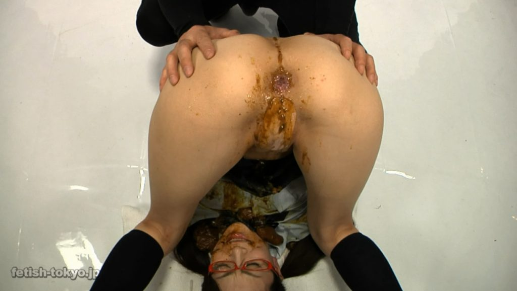 Schoolgirl in glasses shitting and enema on own face - 6