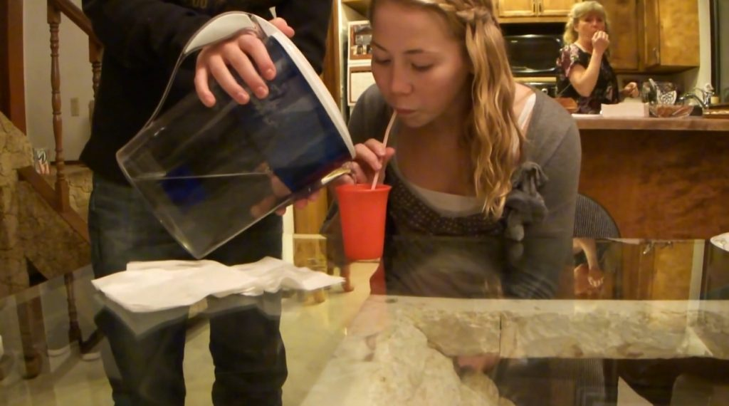 Lexi pukes from drinking water at mema's (FullHD-1080p) img 1