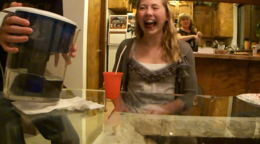 Lexi pukes from drinking water at mema's (FullHD-1080p) img 2