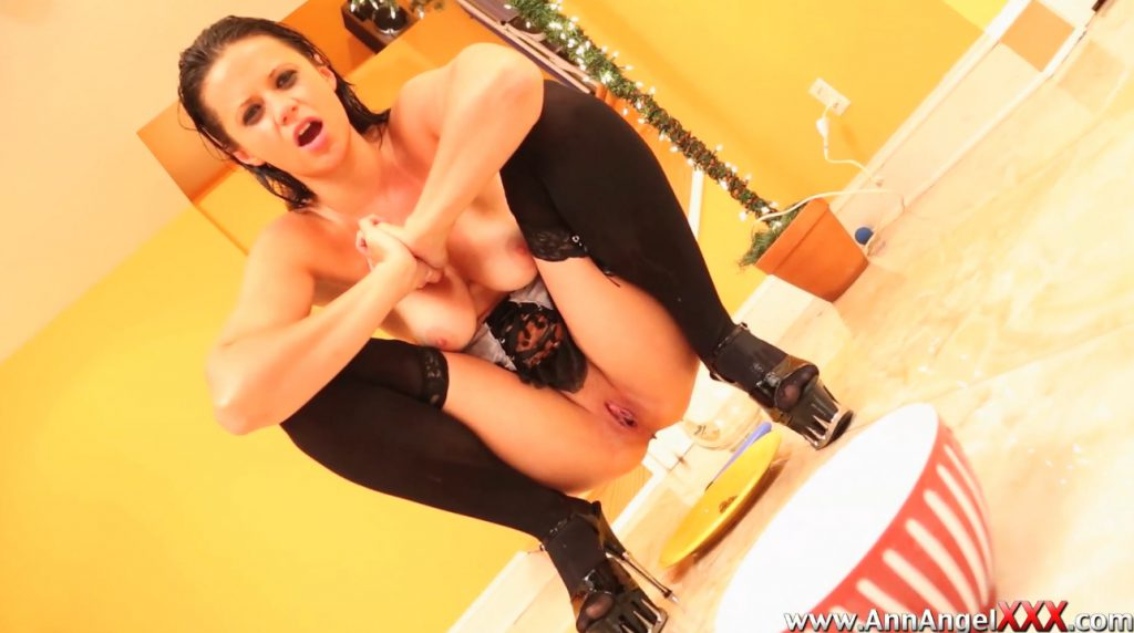 Model in Lingerie Covered in Piss Taking a Shit - Dirty Angel 6