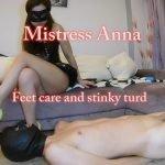 Mistress Anna - Feet care and long stinky turd