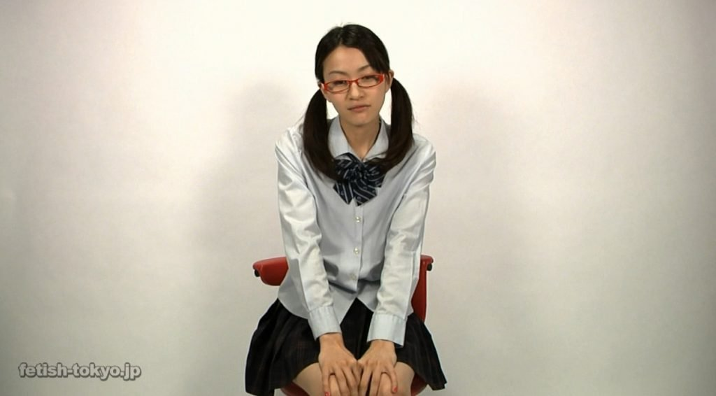 Schoolgirl in glasses shitting and enema on own face - 1