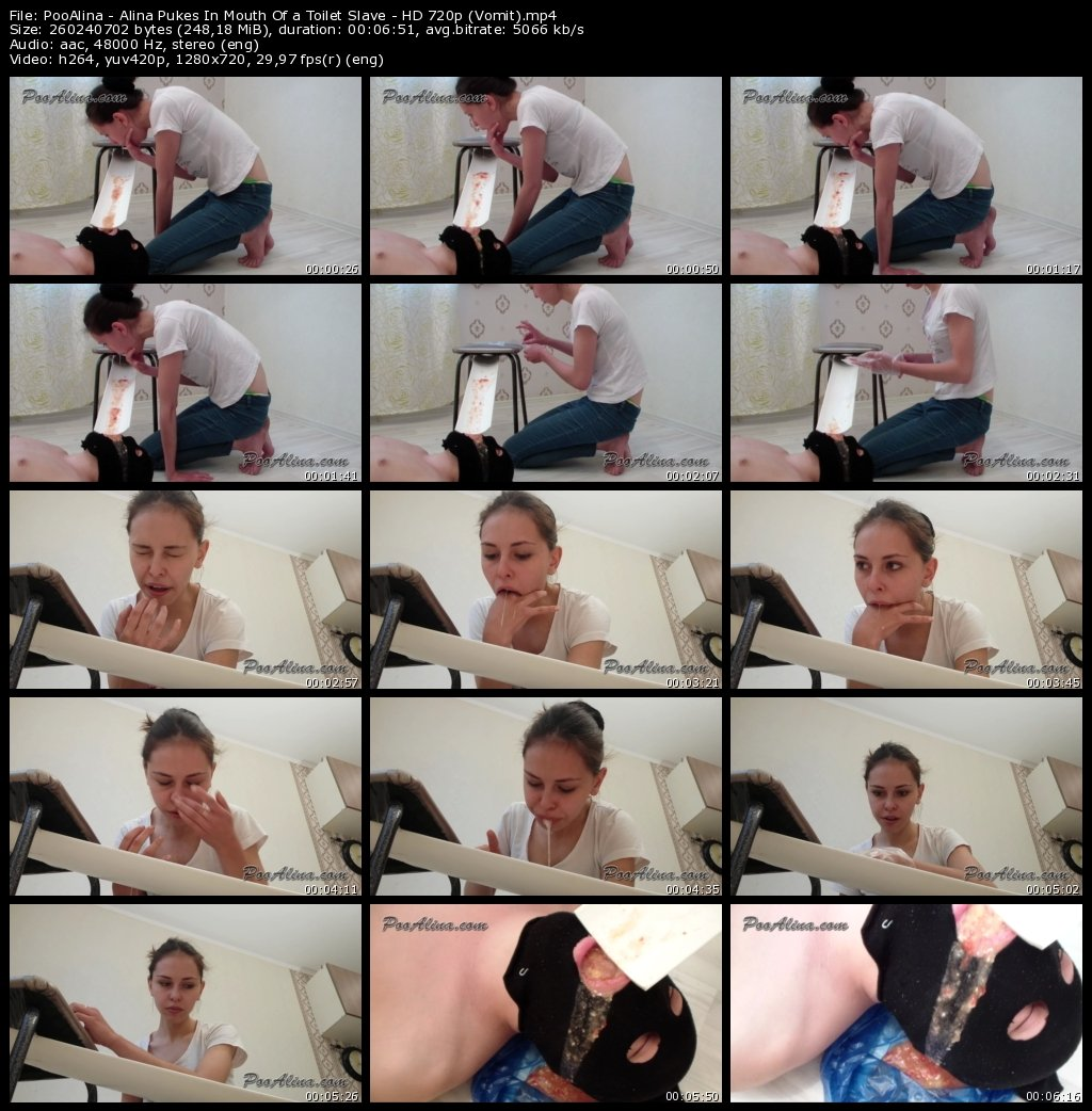 PooAlina - Alina Pukes In Mouth Of a Toilet Slave - HD 720p (Vomit)