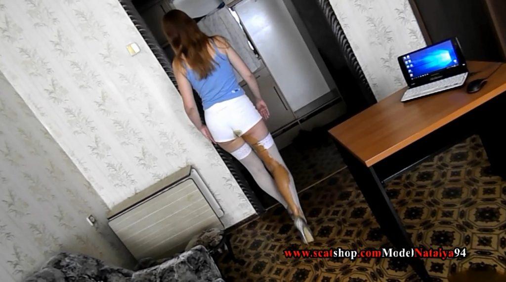 Liquid diarrhea in white shorts (ModelNatalya94) Image 2