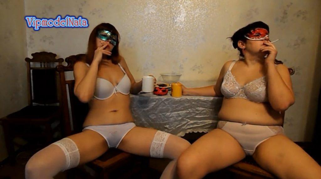 Yana and Olga drink tea with cream shit (ModelNatalya94)