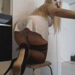 Blonde heels pull pants (Thefartbabes)