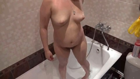 Girl with hairy by a pussy and asshole in the bathtub makes an enema (Full-HD)