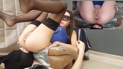 Feeding Comfortable of the toilet slave (Poo Alina)
