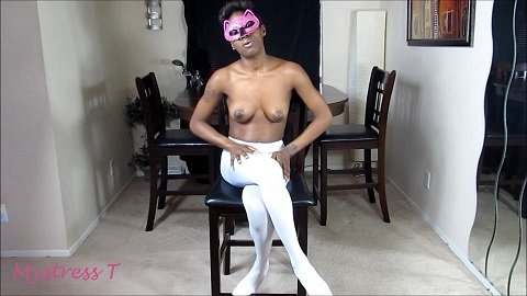 Mistress T - BUTTHOLE PLAY IN SEXY WHITE STOCKINGS (FullHD / 1080p / 602,61 mb)