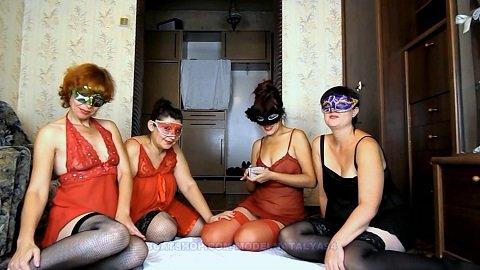 ModelNatalya94 - Four girls play cards on desire (Full HD 1080p / 1,35 Gb)