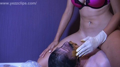 Grace and Erin torment the slave, piss and shit on him (yezzclips)