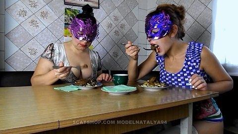 ModelNatalya94 - Yana and Olga eat fried potatoes with shit