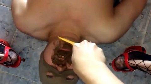 Femdom Scat – Cute mistress feeds her slave