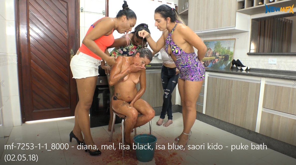 Puke bath (02.05.18) Diana, Mel, Lisa Black, Isa Blue, Saori Kido