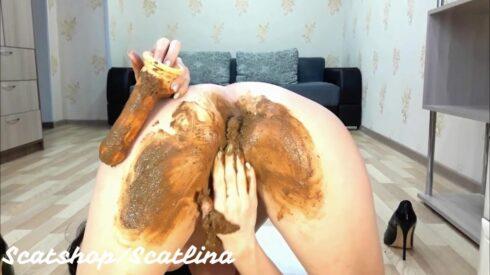 Anal masturbation with a large dildo