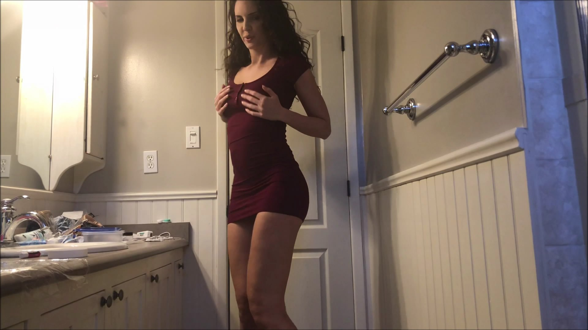 Burgundy dress bumplug starring in video TinaAmazon ($15.99 ScatShop) – Efro