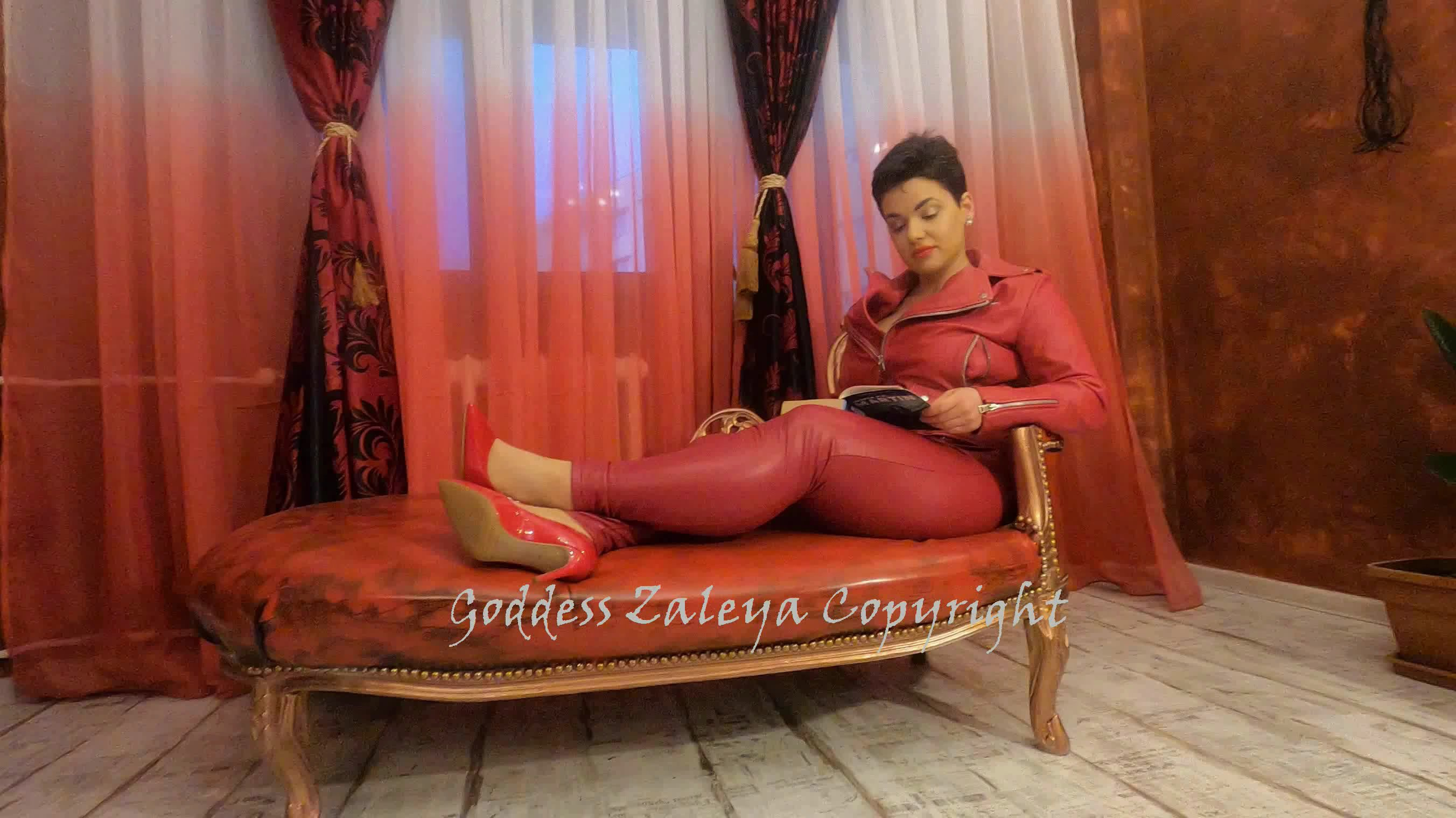 Farting and Shitting in Red Leather starring in video Goddess Zaleya – Poop Videos