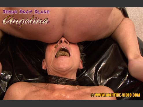 SENIOR SCAT SLAVE ANGELINA starring in video Angelina, 3 males ($50 Hightide-Video)