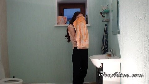 Alina pukes and pooping in toilet (PooAlina.com) by Poo Alina