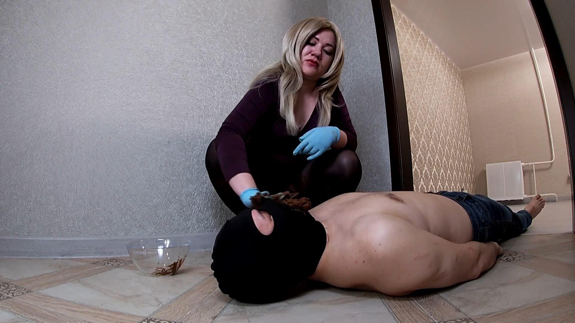 Mistress Feeding Human Toilet